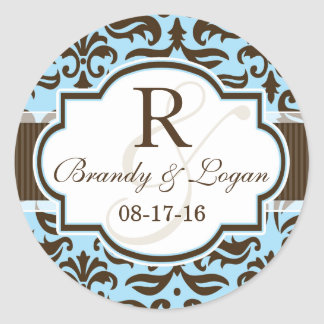 Blue & Brown Damask Wedding Classic Round Sticker