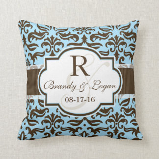 Blue & Brown Damask Wedding Throw Pillow