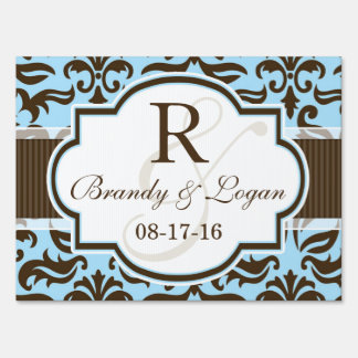 Blue & Brown Damask Wedding Lawn Signs
