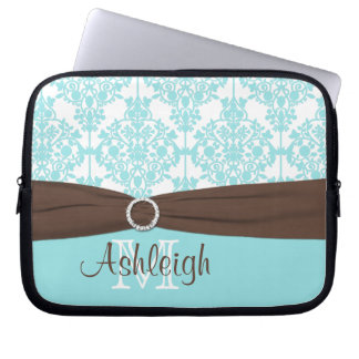 Blue Brown Damask with FAUX Ribbon Laptop Sleeve