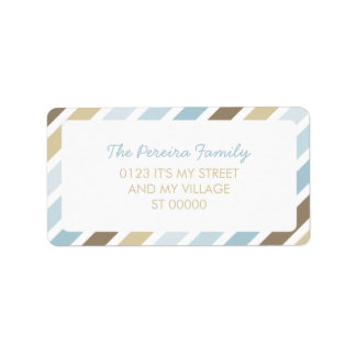 Blue Brown Diagonal Stripe Pattern Simple Striped Label