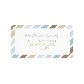 Blue Brown Diagonal Stripe Pattern Simple Striped Address Label