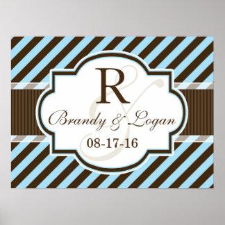 Blue & Brown Diagonal Stripes Wedding Posters