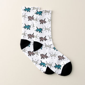 Blue Brown Dogs Bones Graffiti Style Socks