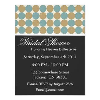 Blue & Brown Dots   Bridal Shower Invitations