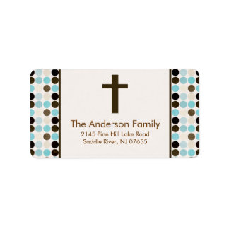 Blue/Brown Dots Cross Religious address Label