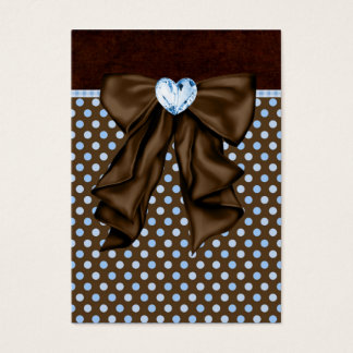 Blue Brown Dots Heart Party Favor Tags