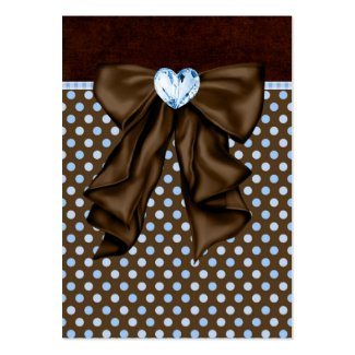 Blue Brown Dots Heart Party Favor Tags profilecard