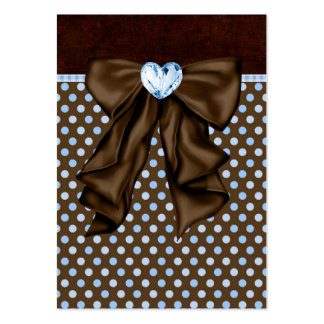 Blue Brown Dots Heart Party Favor Tags Business Cards