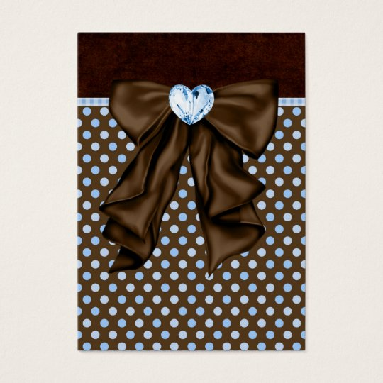 Blue Brown Dots Heart Party Favor Tags Business Card