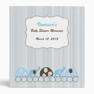 Blue Brown Elephant Baby Shower Memories album 3 Ring Binder