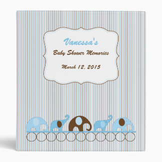 Blue Brown Elephant Baby Shower Memories album Vinyl Binders