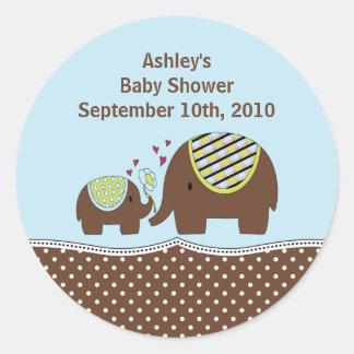 Blue & Brown Elephant Baby Shower Sticker