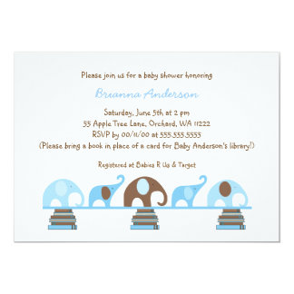 Blue Brown Elephants bring a book baby shower Card
