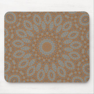 Blue & brown floral fractal pattern design mouse pad
