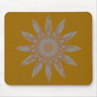 Blue & brown floral fractal pattern design mouse pads