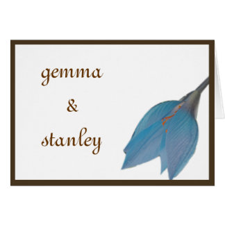 Blue & Brown Flower Save the Date Card
