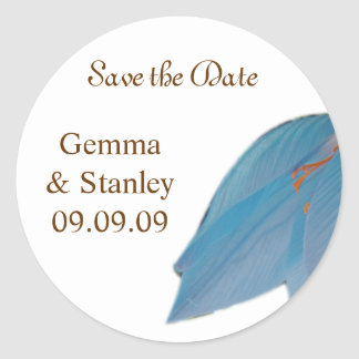 Blue & Brown Flower Save the Date Stickers