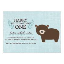 Blue & Brown Forest Bear Boys Birthday Invite