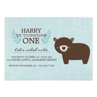Blue Brown Forest Bear Boys Birthday Invite