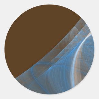 Blue & Brown Fractal BackgroundRound Sticker