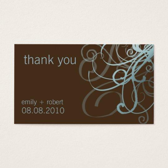 Blue & Brown Funky Swirls • Wedding Favor Tag