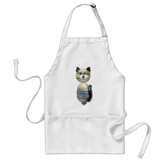 Blue Brown Glass Bead Cat Adult Apron