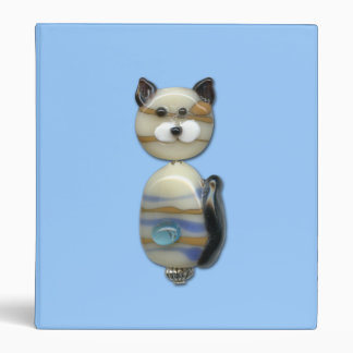 Blue Brown Glass Bead Cat Binder