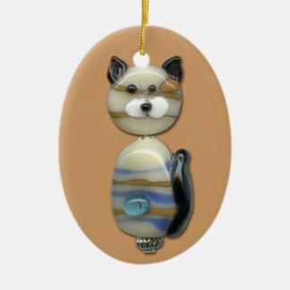 Blue Brown Glass Bead Cat Ceramic Ornament