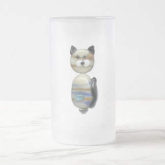 Blue Brown Glass Bead Cat Frosted Glass Beer Mug