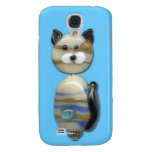 Blue Brown Glass Bead Cat Galaxy S4 Cover