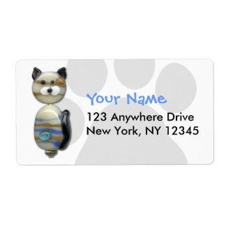 Blue Brown Glass Bead Cat Label