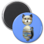 Blue Brown Glass Bead Cat Magnet