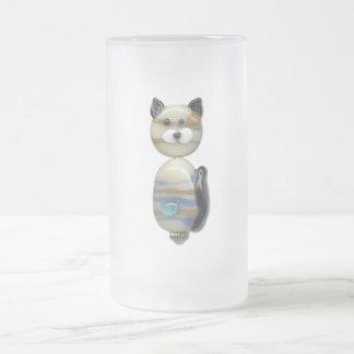 Blue Brown Glass Bead Cat Coffee Mugs