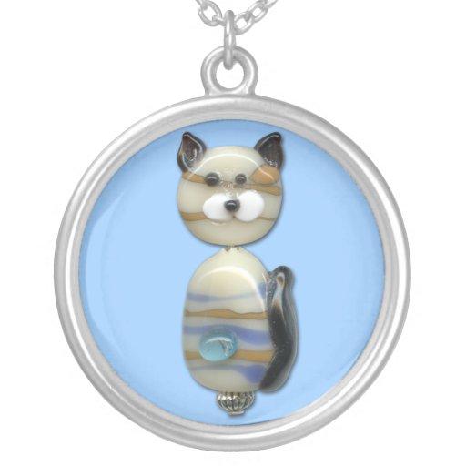 Blue Brown Glass Bead Cat Pendants