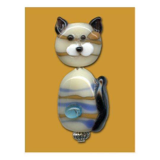Blue Brown Glass Bead Cat Postcard