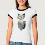 Blue Brown Glass Bead Cat T-Shirt
