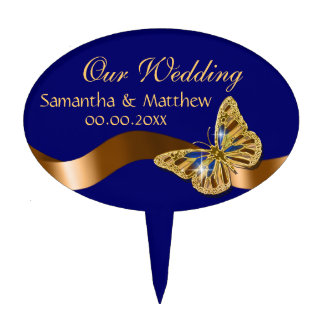 Blue brown gold butterfly wedding PERSONALIZE Cake Topper