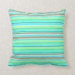 Blue Brown & Green Spring Stripes Modern Pattern Throw Pillows