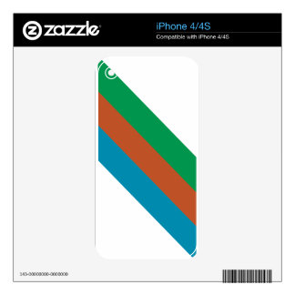 Blue Brown Green Stripes Decal For The iPhone 4S