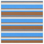 [ Thumbnail: Blue, Brown, Grey & Mint Cream Pattern of Stripes Fabric ]