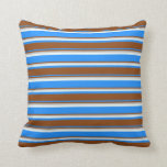 [ Thumbnail: Blue, Brown, Grey & Mint Cream Pattern of Stripes Throw Pillow ]