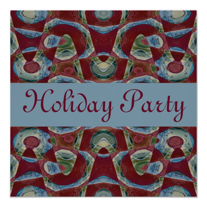 blue brown Holiday Party Card