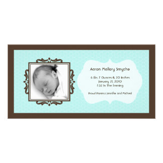 Blue Brown Honeycomb New Baby Photo Cards