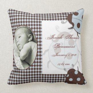 Blue Brown Ladybug Baby Keepsake Pillow