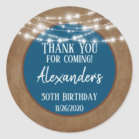 Blue Brown Lights Thank You Birthday Favor Tag Men