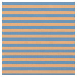 [ Thumbnail: Blue & Brown Lines/Stripes Pattern Fabric ]