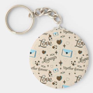 Blue Brown Love Pattern Keychain