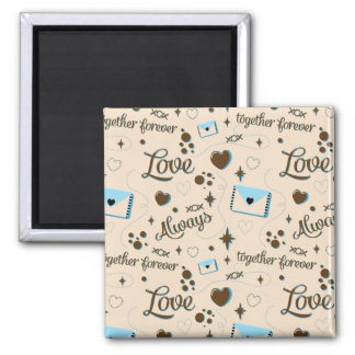 Blue Brown Love Pattern Magnet