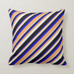 [ Thumbnail: Blue, Brown, Mint Cream, and Black Pattern Pillow ]